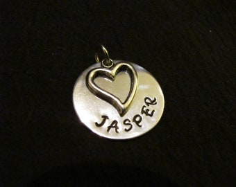 Handstamped Personalized Mommy Necklace-Jewelry with Heart Charm and Necklace