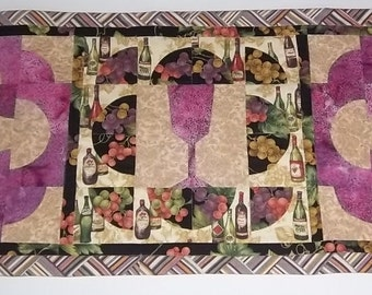 Quilted Table Runner, Wine Theme Table Runner, Wine Lover's Table Runner, Wine Glass