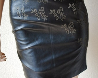 Vintage Designer Leather High Rise Skirt w/ Flowers - by Gianni Versace