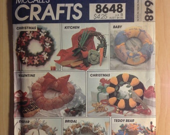 McCalls 80s Holiday Crafts Sewing Pattern 8648 Seasonal Wreaths Sale
