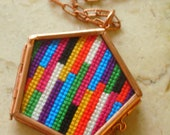 Colorful Striped Cross Stitch Necklace
