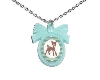 Mint Green Deer Necklace, Kawaii Cameo Necklace