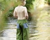 Wee Trousers / Linen Blend  / Little Boys  or Girls / Moss Green  / 6 months - 6T