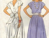 Retro 80s Fashion Butterick Sewing Pattern Boat Neck Dress Full Flared Skirt Back Wrap Closing Big Bow Sash Cap Sleeves Bust 34 36 38