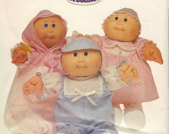 Butterick Sewing Pattern 1980s Cabbage Patch Kids Preemies Clothes Uncut FF Hats Romper Dress Panties