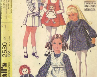 McCall's 70s Sewing Pattern Raggedy Ann Transfer Girls Dress Jumper Pinafore Long Sleeves Mini Length Size 4 Breast 23