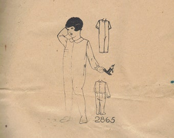 1920s Early 30s Child's Sleeper Feeties Pajamas Rare Woman's World Sewing Pattern Nightdrawers Drop Seat Onesie Toddler Baby Vintage