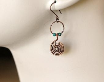 copper hoop earrings   coiled oxidized copper earrings   turquoise spiral dangle earrings   boho earrings   handmade jewelry by girlthree