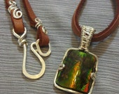 IRIDESCENT Ammolite / Ammonite Green Color-Changing Fossil Stone Pendant and Necklace Wrapped in 925 Sterling Silver Wire