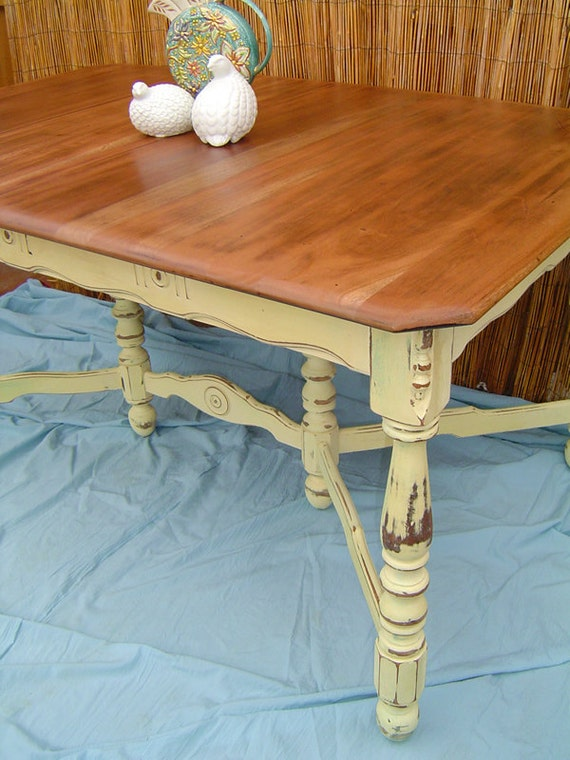 COUNTRY FARM TABLE - Vintage Wood French Country Style Kitchen Dining Table Painted Ivory Distressed Shabby