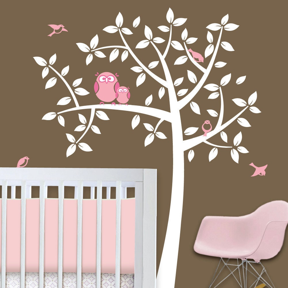 Owl tree girl baby owl nursery theme nursery wall decals for Baby girl nursery mural