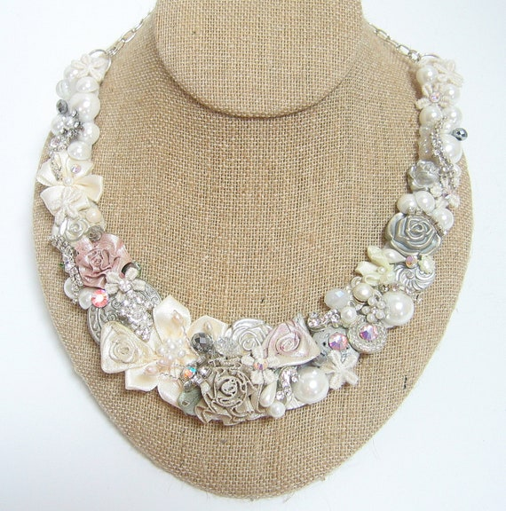 Blush Bridal Necklace- Blushing Bride Statement Necklace- Floral Bridal Bib- Floral Necklace- Pink Floral Necklace- Blush Pink Bridal Bib