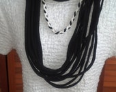 Recycled T Shirt Scarf in Black and White