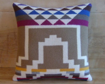 SALE Wool Pillow - Geometric Stripe Tan - Tribal Native American Arrow