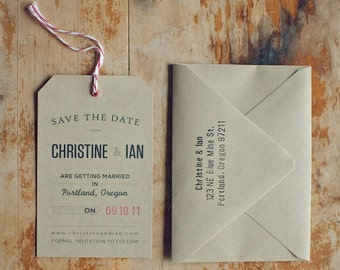 Rustic Kraft Save the Date Tag with Eyelet, Twine and Envelope with Hand-Stamped Return Address