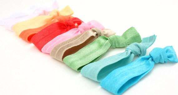 Preppy Pieces Hair Ties (10 ) Yoga Bracelets - FOE Hair Accessories - Elastic Ponytail Holders - Emi Jay Like FOE Ties in Pretty Colors