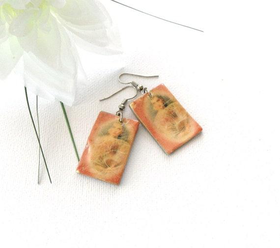 """Earrings - Shell Decoupaged Dangling Earrings 'Ladies from the Past"""" - Retro Style Earrings"""
