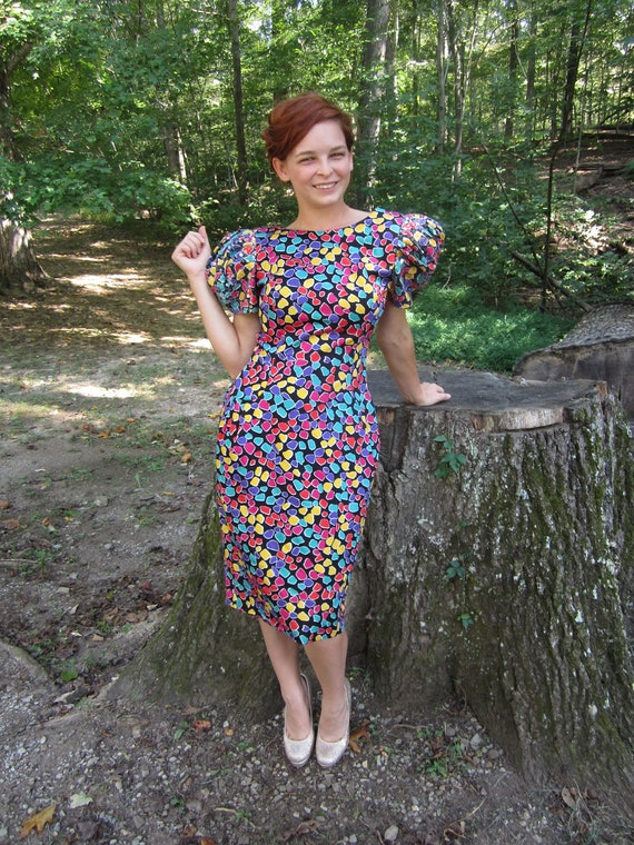 Vintage 1980's party dress 80's puffy sleeve bombshell wiggle dress