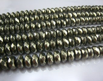 pyrite faceted rondelle 8x5mm 15 inch strand