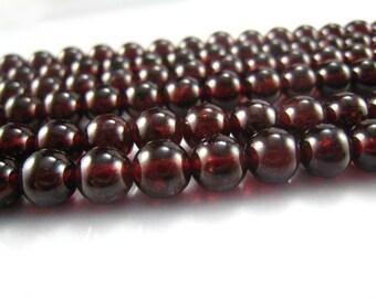 garnet round bead 5mm 15 inch strand