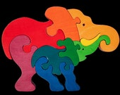 Elephant family -Montessori - Waldorf wooden puzzle, made by hand of maple wood,no harmful colors and no lacquer