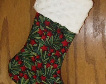 Handmade Christmas Stocking - Christmas Gift Idea - Christmas Stocking, Red Green Stocking, Lined with Minky Cuff