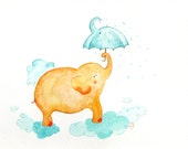 Elephant Umbrella Kids Decor nursery art baby shower orange aqua