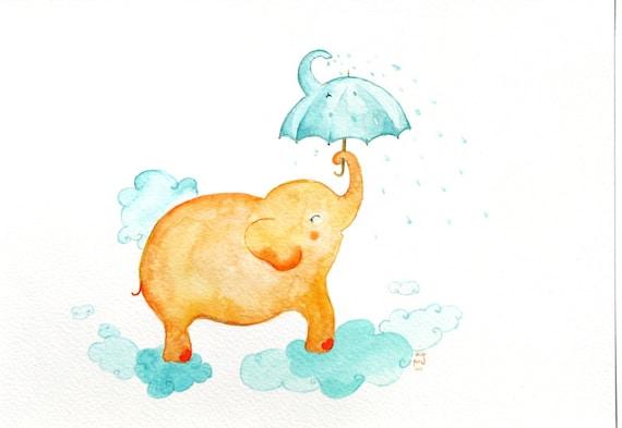 Elephant Umbrella Kids Decor nursery art baby shower orange aqua