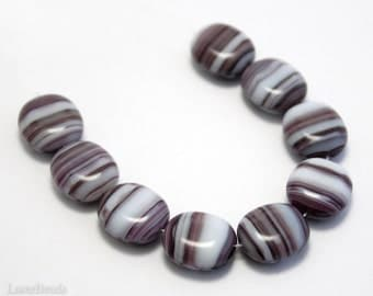 Purple and White Czech Beads 14mm (10) Pressed Opaque Glass Flat Oval Large Striped Big last