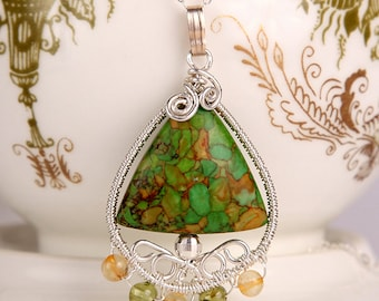 Tear drop shape handmade unique sterling silver wire wrapped pendant with triangle shaped mosaic turquoise gemstone, citrine and peridot
