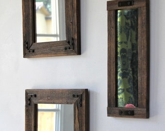 Rustic Mirror - Mirror Collage - Set of Three - Reclaimed Wood - Farmhouse - Decorative Mirrors - Rustic Home Decor - Wall Mirror