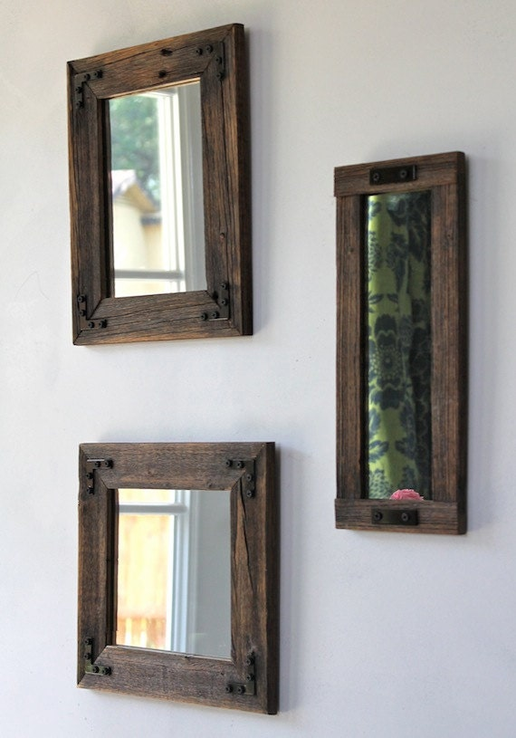 items similar to wood mirrorrustic mirror mirror collage set of three reclaimed wood. Black Bedroom Furniture Sets. Home Design Ideas