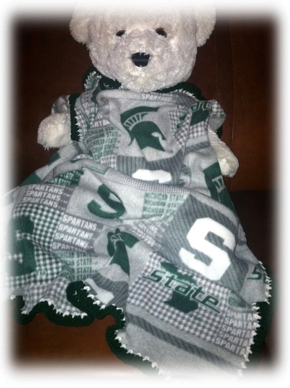 Michigan State Spartans Gray Football Fleece Sports Baby Blanket