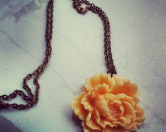 Creamy Dreamy Peony Necklace on antique bronze chain