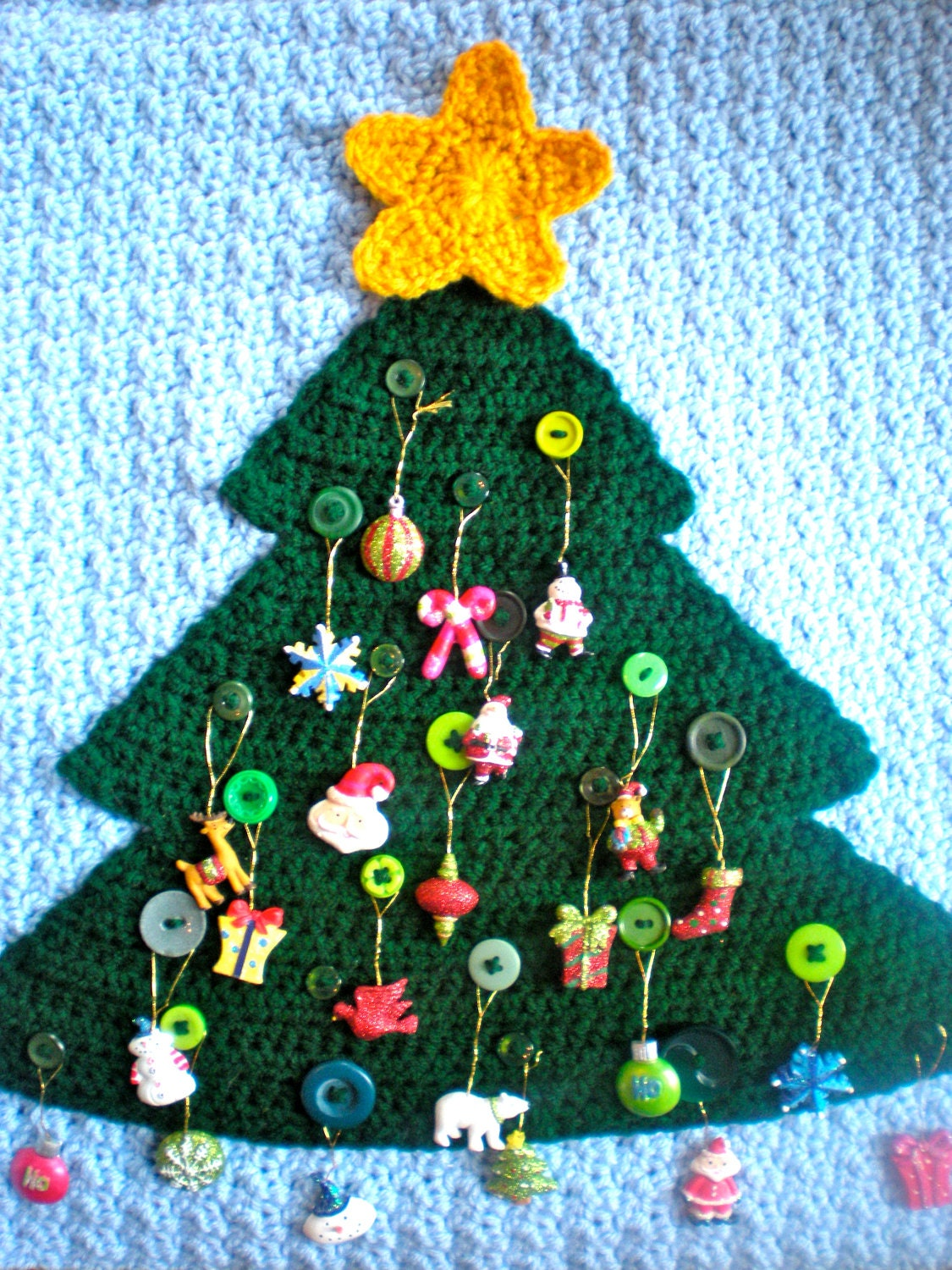 Knitting Pattern Christmas Advent Calendar : PATTERN: Advent Calendar modern holiday decor button tree