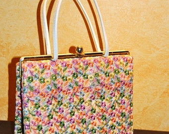 Beautiful Mar Shel Embroidered Multi-Colored Ladies Classic Style Summer Party Handbag