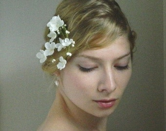 White Lilac 'Isabeau' Clip - Bridal Flower Hair Accessory - Bride Bridesmaid Flowergirl - Woodland Wedding