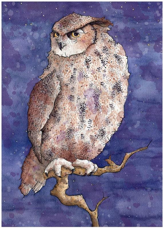 Great Horned Owl Custom Illustration Gicl  233 e PrintGreat Horned Owl Illustration