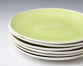 30% off Handmade White and Green ceramic pottery plates, 9.75 inches wide - sold individually - green and white satin plates - ready to ship