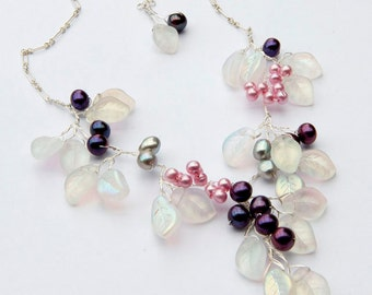 Pink Purple Flower Beaded Necklace of leaves and pearls, Bib Necklace, Bridal Jewelry, Nature Jewelry