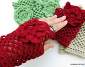 CROCHET PATTERN Women's Fingerless Gloves, Crochet Lace Gloves With Flower, DIY Craft Arm Warmers Instant Download Lyubava Crochet Pdf No.44
