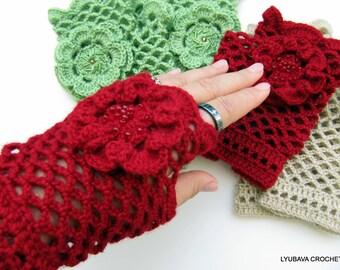 CROCHET PATTERN Women's Fingerless Gloves, Crochet Lace Gloves With Flower, DIY Craft Arm Warmers Instant Download Lyubava Crochet Pdf No.44