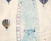 Carnival Art - 8x10 photograph - fine art print - Texas State Fair - Ferris Wheel - Hot Air Balloons