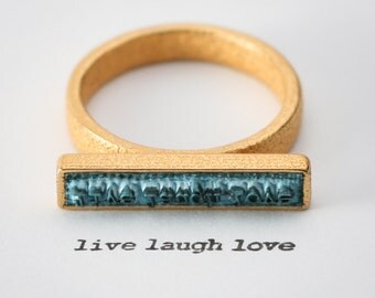 LIVE LAUGH LOVE - Be happy. Statement Ring, Stamp Ring, Quote Ring, positive thinking, Love Ring