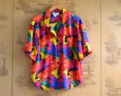 Vintage Button Down Colorful Blouse / Abstract bright colored collared shirt / size large