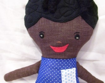 SALE, Reduced to sell, Too Cute Little Black Cloth doll, handmade