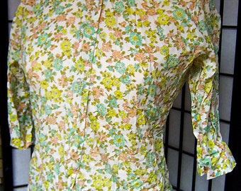 vintage 1960s Mad Men peach yellow aqua olive floral print blouse- medium