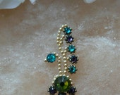 Indian style bindi, hand made with Swarovski crystals and glass beads, peacock