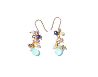 Pearl Crystal Gold Earrings Cascade Light Multi Handmade Colorful