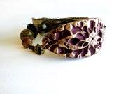 Cuff  Bracelet - Maroon & Brass - Beaded with Silk Ribbon